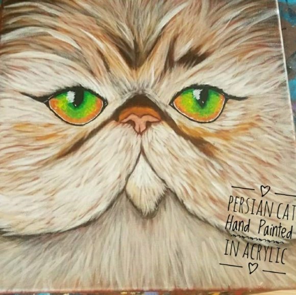 Hand Painted Other - Persian Cat Painted Original on 12x12 Canvas
